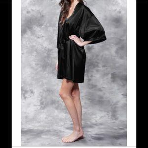 Other - Black Satin Short Robe Size XXL